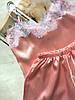 Пижама женская атласная майка и шорты персик 02, фото 2