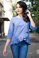 Синяя блуза ETHEL из хлопка с удлиненной спинкой, рюшами и коротким рукавом, фото 1