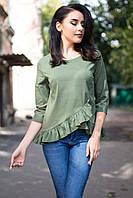 Зеленая хлопковая блуза ETHEL с асимметричным низом, рюшами и рукавом 3/4, фото 1