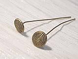 Пины гвоздики с фигурной головкой 5 см золото античное №9 бижутерные, фото 2