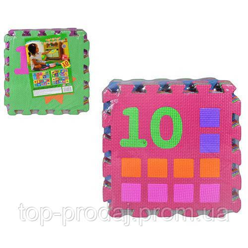 Коврик Мозаика M 0375 EVA, цифры, 10 квадратов, 30-30см, коврик для детей, игра