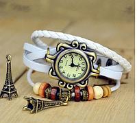 Женские кварцевые наручные часы-браслет в ретро-стиле с подвеской Эйфелева башня, цвет - белый