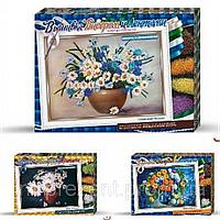 Вышивка бисером и лентами на Венецианском холсте, размер 28*38*4 см, набор для творчества
