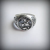1037 Тяжелый серебряный перстень Георгий победоносец 925 пробы