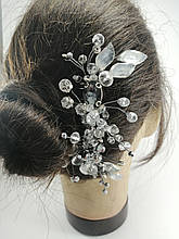 Гребінь з кришталевими намистинами Прозорий Срібний Весільна прикраса у зачіску