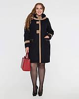 Женское пальто с капюшоном,большие размеры рр 64-70