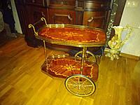 Сервировочный столик с инкрустацией карельской березой.  Бельгия.