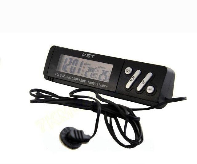 Автомобильные часы с термометром VST VST-7067 Black с наружным и внутренним датчиком температуры