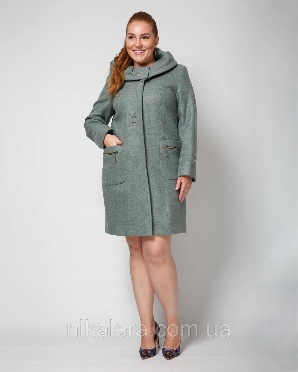 Демисезонное пальто с капюшоном,большие размеры рр 50-62