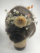 Гребінь з перловим намистом і стразами з Квіткою прикраса у зачіску