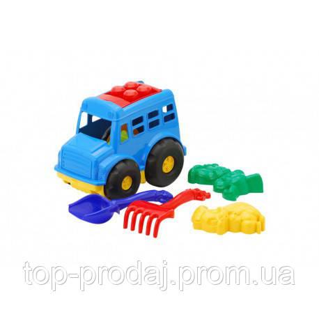 """Автобус """"Бусик"""" №2: автобус, лопатка и грабельки (ЛГ4) и две большие пасочки, детская машинка, игрушечная"""