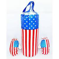 Боксерский набор USA бол. арт. BX 068-65 размер 55*20 см, спортивный набор, перчатки, груша