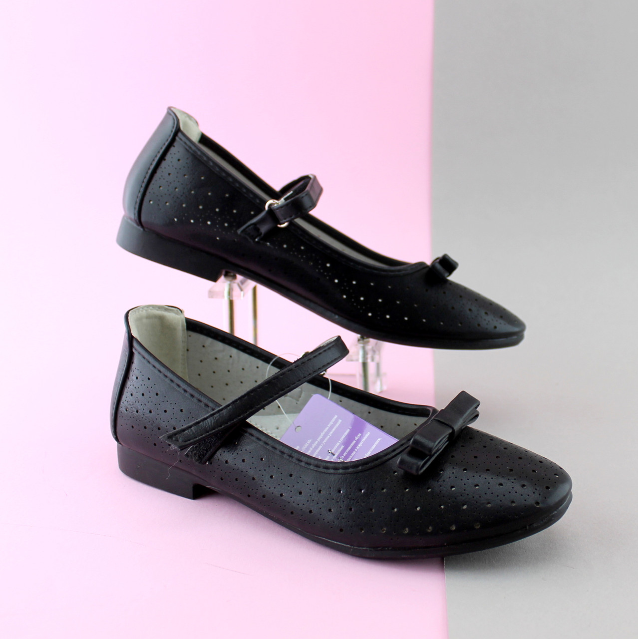 c4acfc986 Подростковые черные туфли на девочку, детские школьные туфли с бантом тм  Том.м р