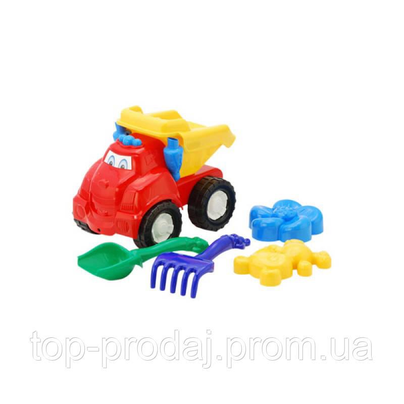 """Машина """"Смайл"""" самосвал №2: машинка, лопатка и грабельки (ЛГ4), две большие пасочки (П4) арт. 0138, игрушка"""