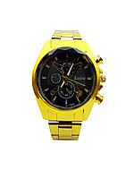 Часы наручные мужские кварцевые Loire,  Золотистый цвет, Черный циферблат