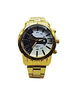 Часы наручные классические мужские кварцевые Loire,  Золотистый цвет, Бело-Черный циферблат