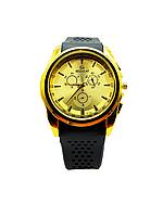 Часы наручные мужские унисекс Gusalai, Черный цвет, Золотистый циферблат