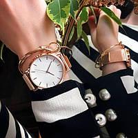 Женские часы Classic steel watch розовое золото, жіночий годинник, кварцевые часы на кольчужном ремешке, фото 1