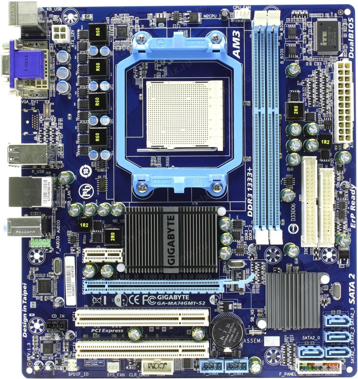 ТОПОВАЯ Плата под AMD SAM3 на DDR3 ! GIGABYTE GA-MA74GMT-S2 Понимает ВСЕ 2-6 ЯДЕРНЫЕ ПРОЦЫ AM3 X2-X6