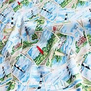 41018 Морские открытки. Ткань с принтом на морскую тематику. Подойдет для пэчворка, скрапбукинга и декора., фото 2