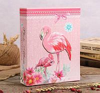 """Фотоальбом на 200 фото 10х15 см """"Розовый фламинго и цветы"""" твердая обложка"""