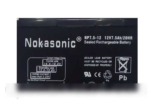 Аккумулятор NOKASONIK 12 v-7.5 ah 2 kg 05 gm NOKASONIC
