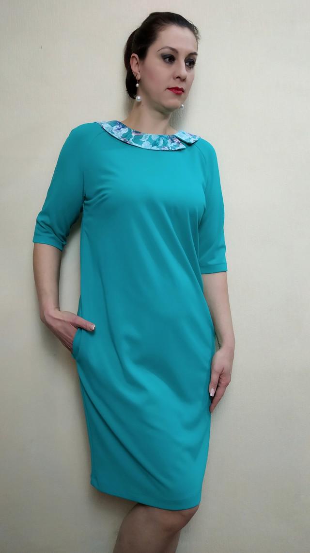 Бирюзовое нарядное платье с карманами П210