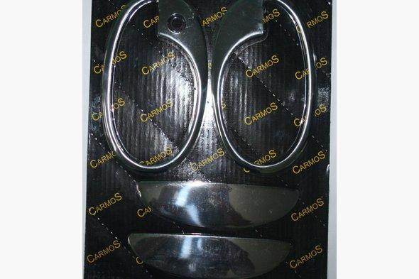 Накладки на ручки с обводкой (2 двер., нерж.) Opel Combo 2002-2012 гг.