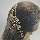 Гребень с хрустальными бусинами Розово-Золотой украшение в прическу, фото 5