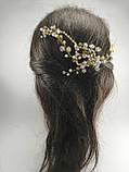 Гребінь з кришталевими намистинами Рожево-Золотий прикраса у зачіску, фото 10
