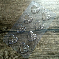 Пластиковая форма для шоколада Сердечки полу-плитки