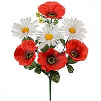 Букет искусственных цветов Мак с ромашкой микс , 35 см