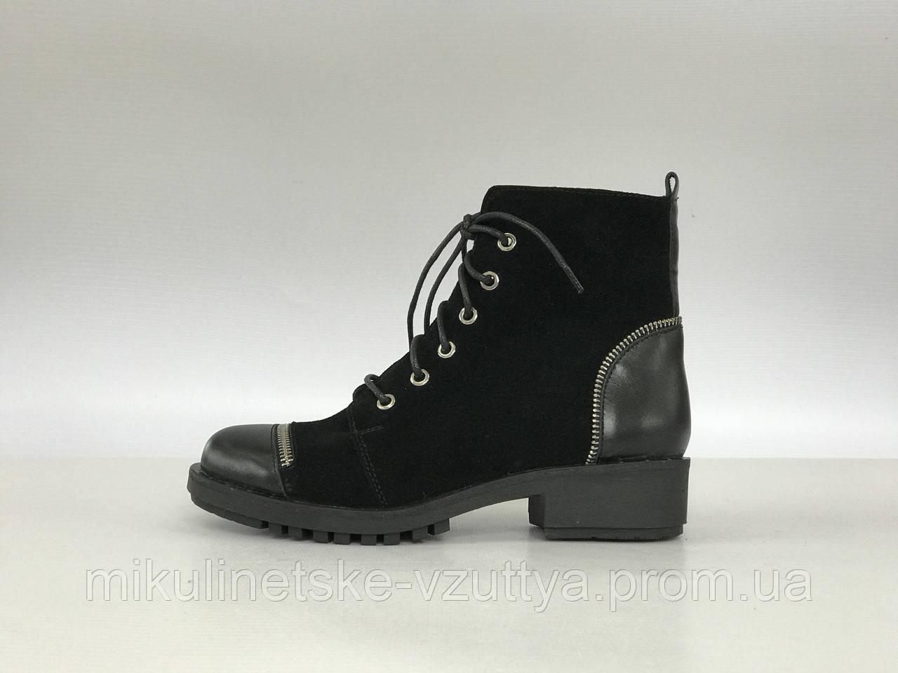 413fa1b48e97c6 Демисезонні жіночі шкіряні черевики D&V 2019 замшеві на шнуровці -  Микулинецьке взуття