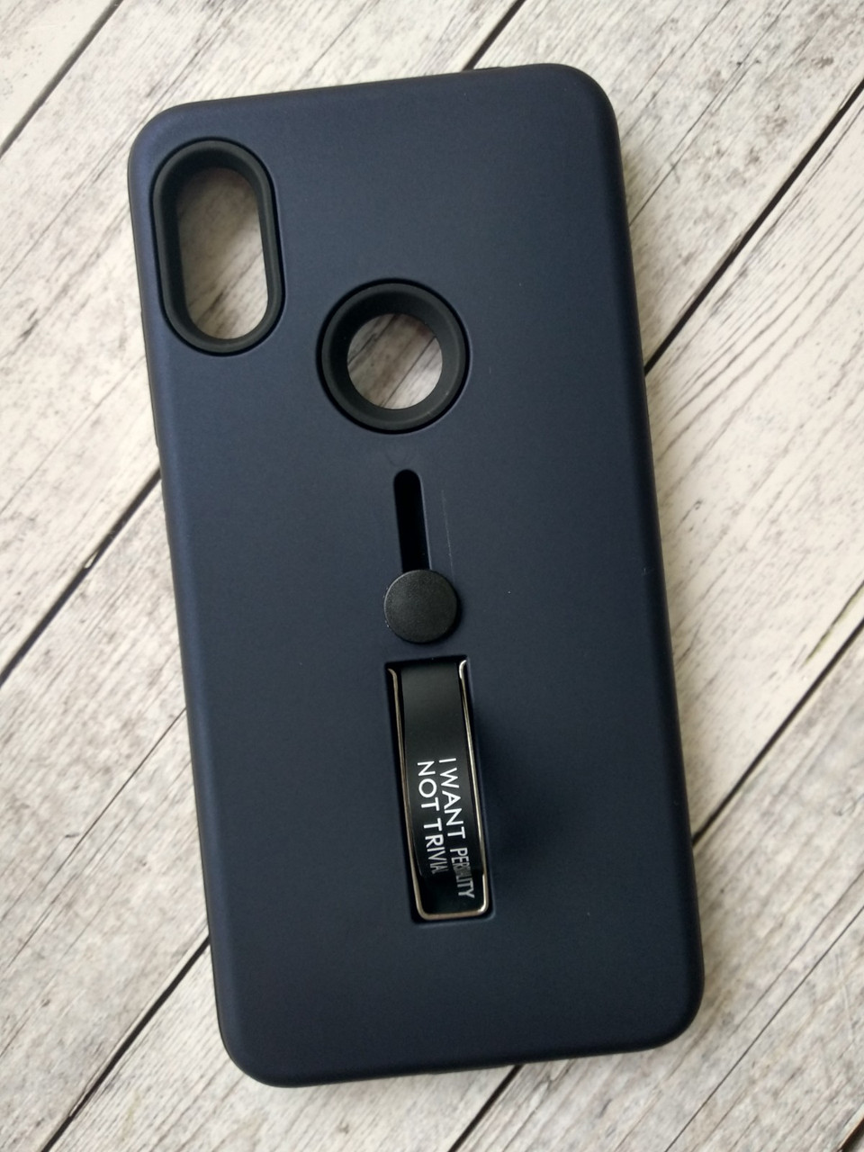 Чехол для Xiaomi Redmi 6Pro/Mi A2 Lite Silicone + Plastic Finger Ring Stand dark blue
