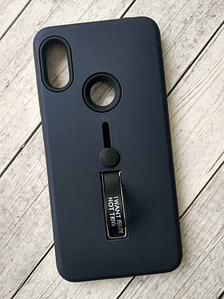 Чехол для Xiaomi Redmi 6Pro/Mi A2 Lite Silicone + Plastic Finger Ring Stand dark blue , фото 2