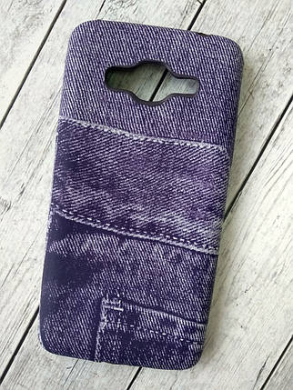 "Чехол Lenovo A6000 Silicon (плотный) ""Jeans"" violet, фото 2"
