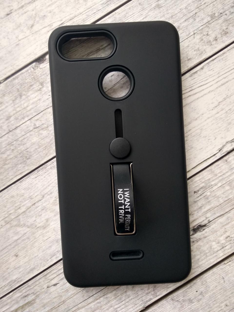 Чехол для Xiaomi Redmi Note 6/6Pro Silicone + Plastic Finger Ring Stand black-
