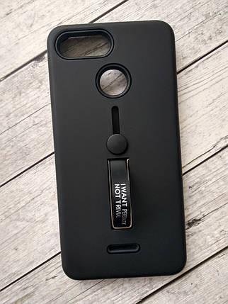 Чехол для Xiaomi Redmi Note 6/6Pro Silicone + Plastic Finger Ring Stand black-, фото 2