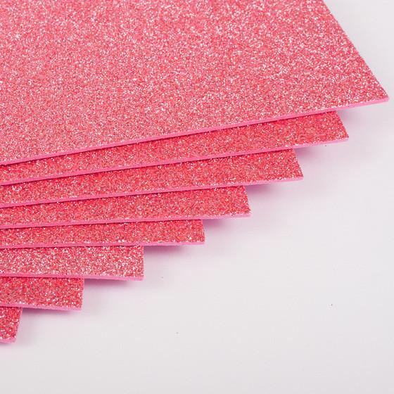 Фоамиран с глиттером Kidis А4 7943 297*210 мм 2 мм 10 шт/уп розовый
