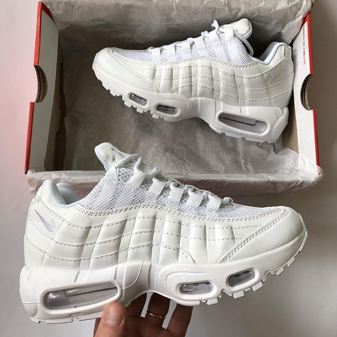 8aed79a6 Женские кроссовки Nike Air Max 95 белые кожаные реплика - купить не ...