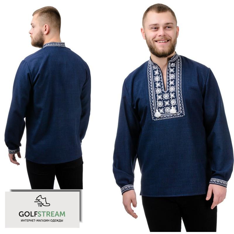 Модная сорочка-вышиванка Орнамент (темно-синий)