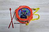 Барабан 2483 в кульке 14-14-9 см, палочки 2 шт., фото 3