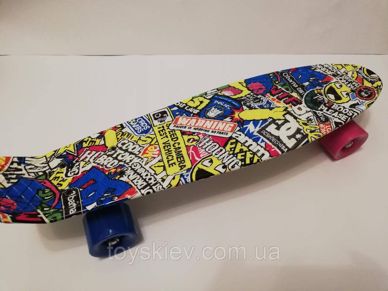 Скейт Пенни борд (Penny board) с рисунком без света 55см. 9-3-1