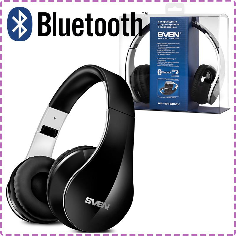 Беспроводные наушники SVEN AP-B450MV Black, Bluetooth блютуз гарнитура с микрофоном