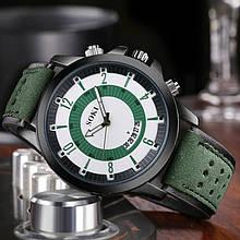Стильные мужские часы  с датой зеленые