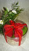 Набор сувенирного мыла «Розы» в тубусе.
