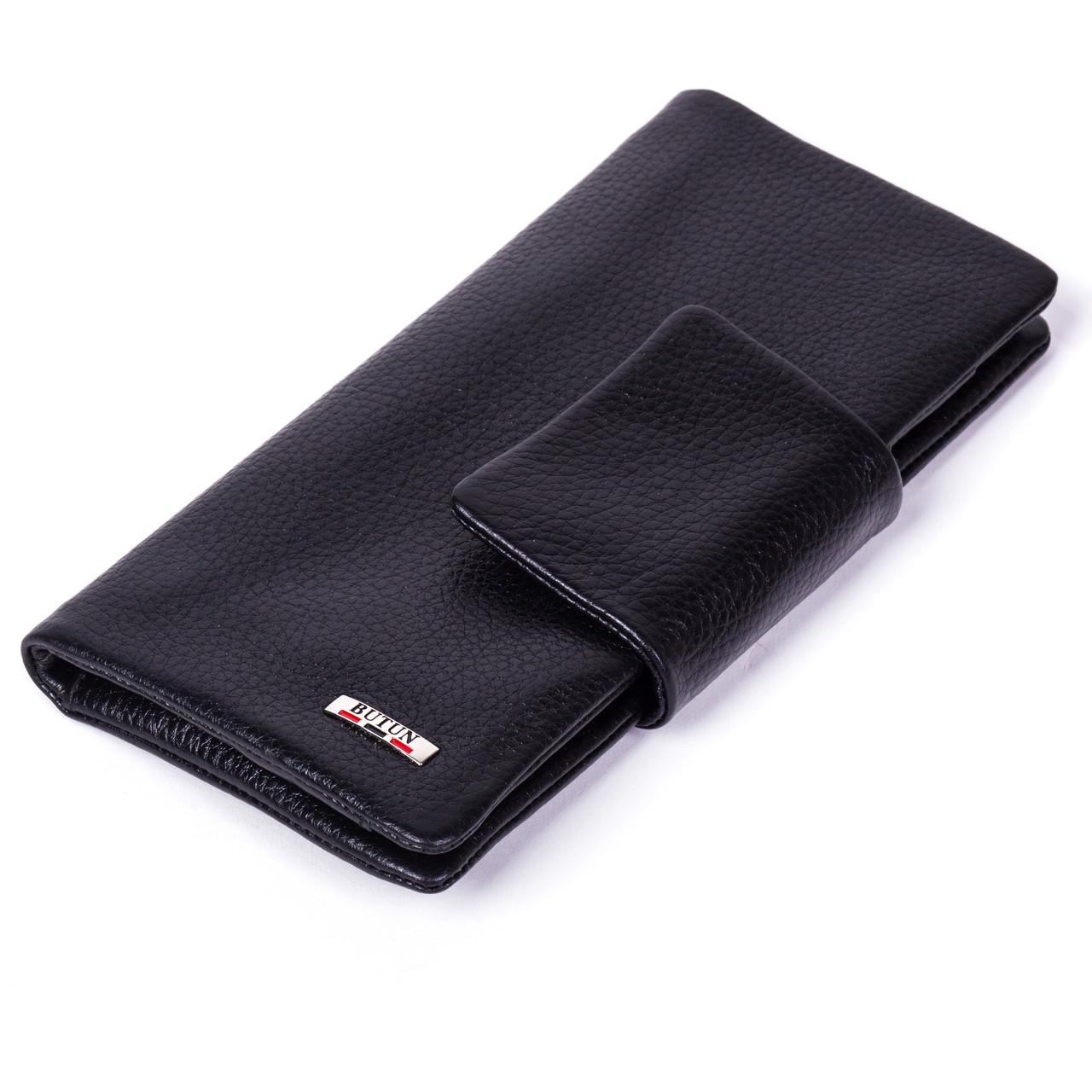 Женский кошелек клатч Butun 638-004-001 кожаный черный