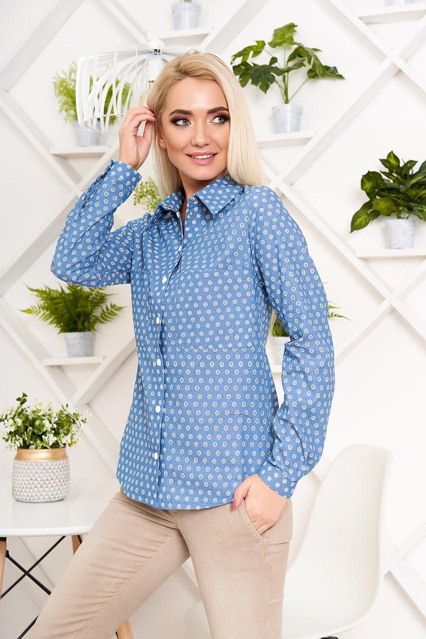 Красивая женская джинсовая рубашка с принтом