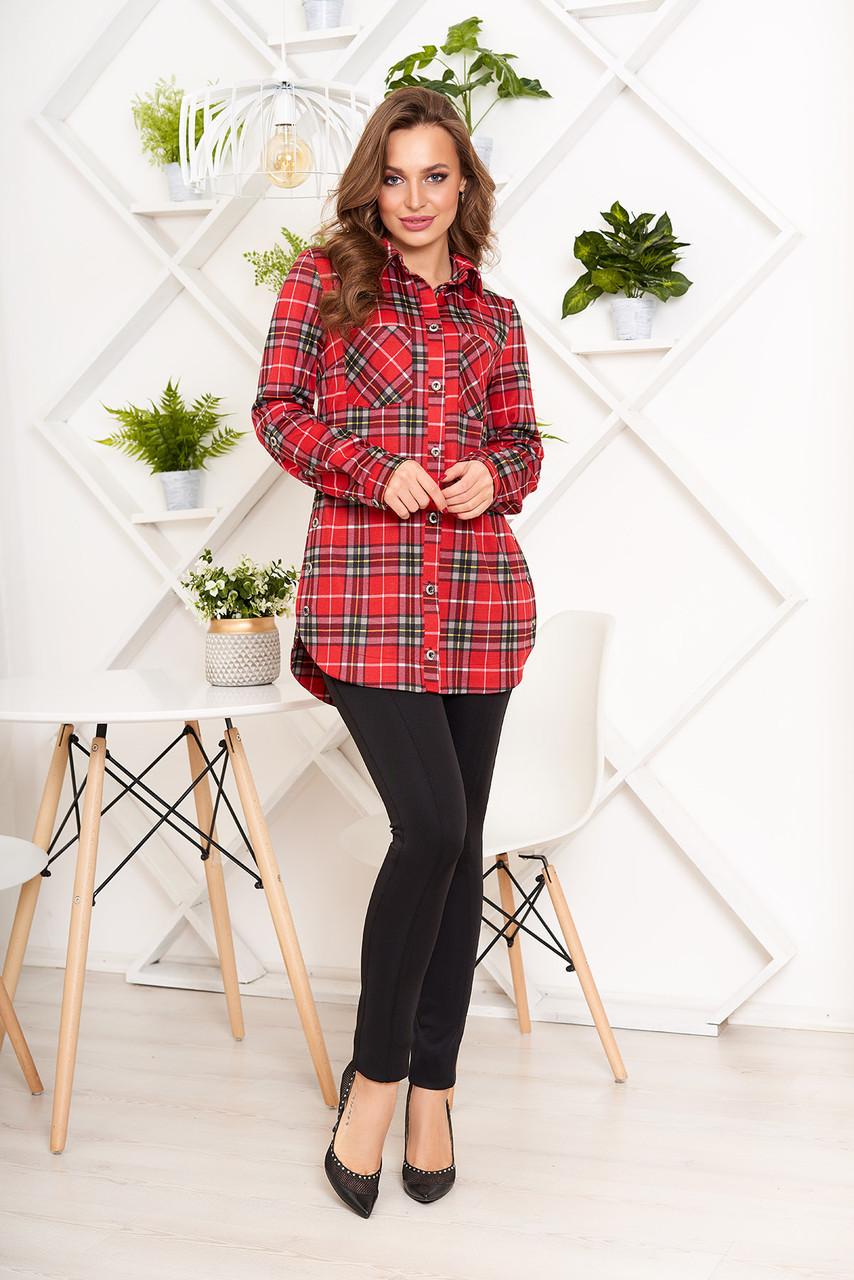 3c91690c166 Женская рубашка в клетку красная удлиненная - Интернет-магазин одежды  ALLSTUFF в Киеве