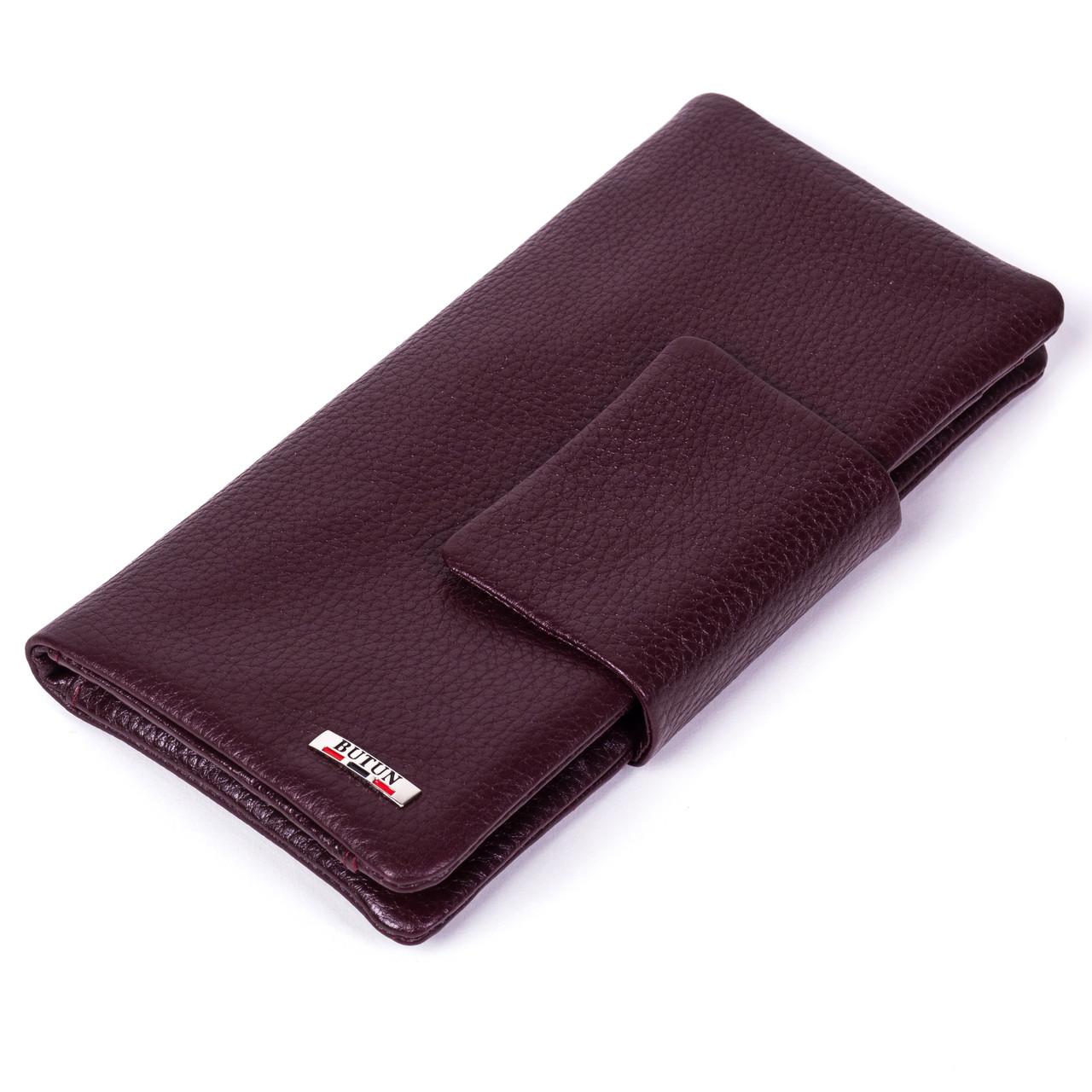 Жіночий гаманець клатч Butun 638-004-002 шкіряний бордовий